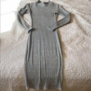 Gray sweater midi dress